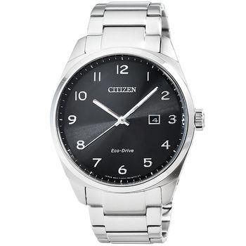 CITIZEN 星辰光動能簡約石英錶-黑 / BM7320-87E