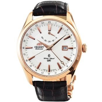 ORIENT 東方錶GMT 動力儲存藍寶石機械皮帶錶-玫瑰金 / SDJ05001W (原廠公司貨)