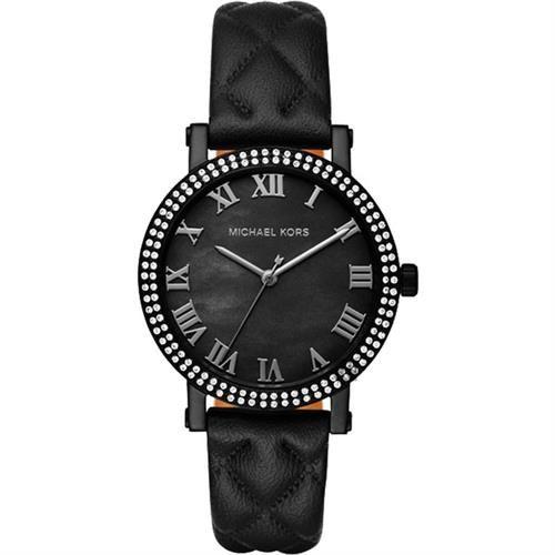 Michael Kors Norie Grey羅馬晶鑽腕錶-黑/38mm MK2620