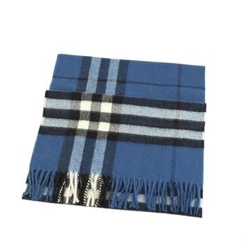 BURBERRY經典格紋喀什米爾羊毛圍巾(藏青色)