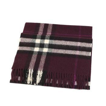 BURBERRY經典格紋喀什米爾羊毛圍巾(茄紫色)