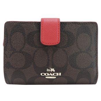 COACH C LOGO 皮革拉鍊袋中夾(4色選)