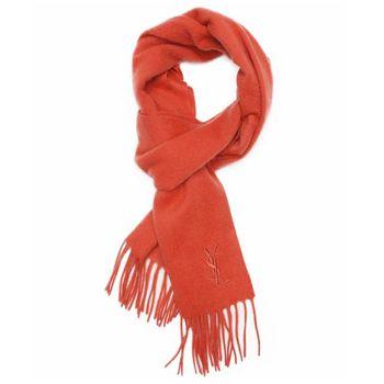 YSL 純色羊毛圍巾-珊瑚紅