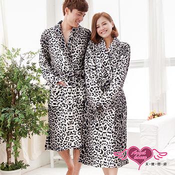 【天使霓裳】保暖睡袍 浪漫時光 豹紋珊瑚絨一件式綁帶連身睡衣(男F)