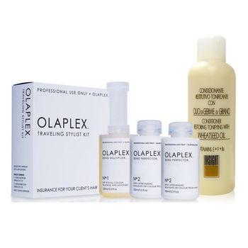 OLAPLEX 歐啦頂級沙龍護髮組(1號100ml+2號100ml×2)+INS 小麥胚芽護髮素 1000ml
