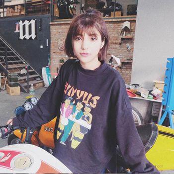 WOMA-X691韓版寬鬆刷毛卡通印花上衣(藍/灰)WOMA中大尺碼上衣X691