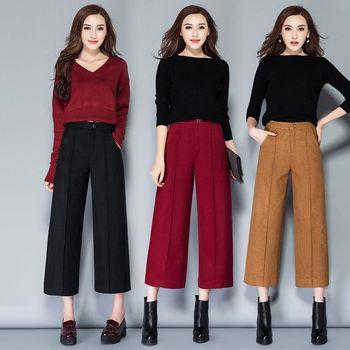 【KVOLL中大尺碼】歐美時尚顯瘦九分寬褲(共三色)