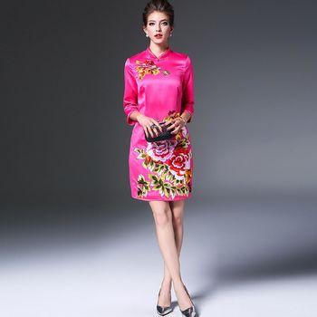 【糖潮】立領牡丹花刺繡七分袖連衣裙