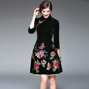 【糖潮】蝴蝶花刺繡七分袖旗袍洋裝(共二色)