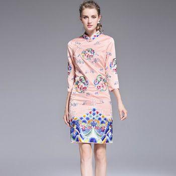 【糖潮】立領盤扣民族風刺繡中袖旗袍洋裝(共二色)