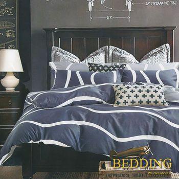 【BEDDING】100%棉 雙人加大舖棉床包+舖棉兩用被四件組-首爾之約