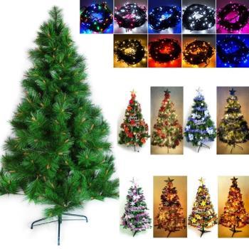 台灣製造5呎/5尺(150cm)特級綠松針葉聖誕樹 (含飾品組)+100燈LED燈串2串