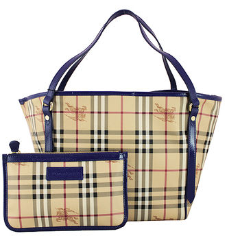BURBERRY 經典騎士格紋手提/肩背水桶包(附可拆小袋)-藍色