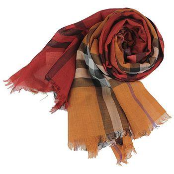 BURBERRY經典大格紋兩色漸層羊毛絲綢披肩/圍巾(橘紅色+黃橙色)
