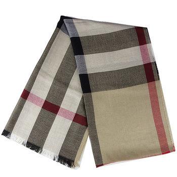 BURBERRY經典方格紋絲質+喀什米爾羊毛披肩/圍巾(駝色)