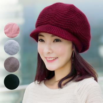 【幸福揚邑】雙層保暖護耳小顏針織鴨舌貝蕾帽小臉兔毛線帽-5色