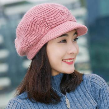 【幸福揚邑】雙層保暖護耳小顏針織鴨舌貝蕾帽小臉兔毛線帽-粉紅