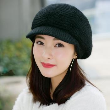 【幸福揚邑】雙層保暖護耳小顏針織鴨舌貝蕾帽小臉兔毛線帽-炫黑