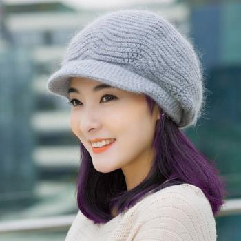 【幸福揚邑】雙層保暖護耳小顏針織鴨舌貝蕾帽小臉兔毛線帽-淺灰
