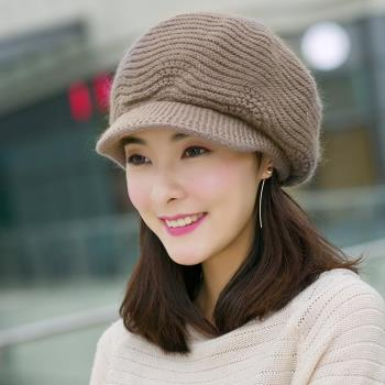 【幸福揚邑】雙層保暖護耳小顏針織鴨舌貝蕾帽小臉兔毛線帽-卡其
