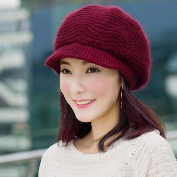 【幸福揚邑】雙層保暖護耳小顏針織鴨舌貝蕾帽小臉兔毛線帽-酒紅