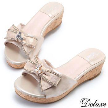 【Deluxe】全真皮閃耀水鑽蝴蝶結厚底楔型拖鞋(金)
