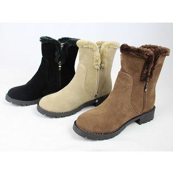 《DOOK》溫暖毛毛中筒靴