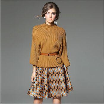 (現貨+預購 RN-girls)-歐美秋冬精品蝙蝠袖毛衣+毛呢短裙休閒套裝