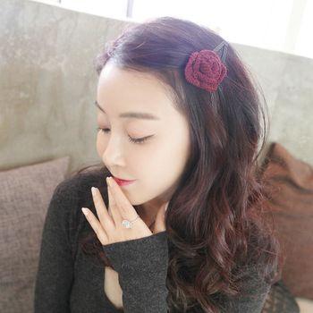 ArFFi 艾菲 手工溫度毛線編織玫瑰花髮夾壓夾-二色