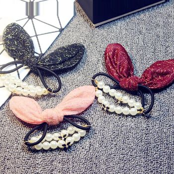 ArFFi 艾菲 甜美金蔥感兔耳朵珍珠髮圈髮束-三色