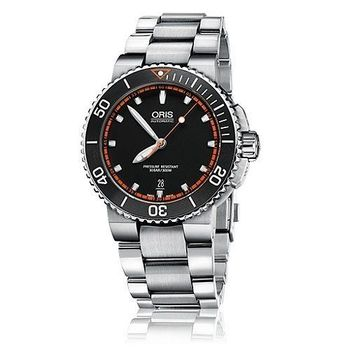 Oris Aquis時間之海陶瓷圈中型潛水錶-黑X銀/43.00 mm 0173376534128-0782601PEB