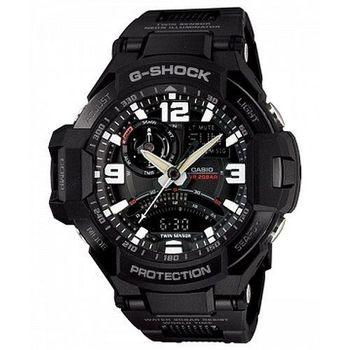 CASIO 卡西歐 G-SHOCK Gravity Defier數位羅盤飛行錶款-強化橡膠帶/52.1mm( GA-1000FC-1A)
