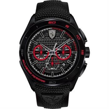 Scuderia Ferrari 法拉利 急速三眼計時腕錶-黑x紅圈/45mm 0830344