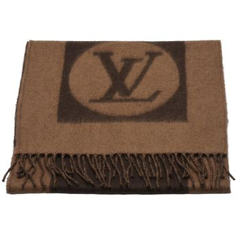 LV M72204 Monogram LOGO Cardiff 羊毛圍巾(米色)