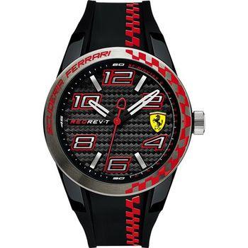 Scuderia Ferrari 法拉利 REV-T 競速腕錶-黑x紅/44mm 0830336