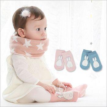 【兩雙入】寶寶毛絨小兔兒童短襪短筒襪防滑嬰兒襪