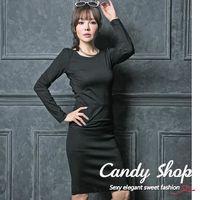 Candy小舖 新品特色款性感素色交叉露背彈性短版上衣~黑色~0097888