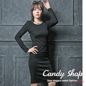 Candy小舖  新品特色款性感素色交叉露背彈性短版上衣-黑色-0097888