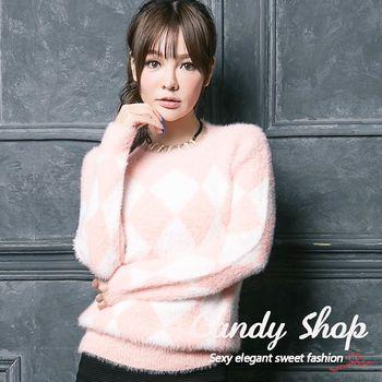 Candy 小鋪  超質感配色菱格紋針織毛衣(黃/藍/粉)三色-0097865