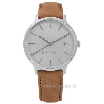 ESPRIT / ES109332001 / 經典光澤迷人風情日期真皮手錶 灰x咖啡 34mm