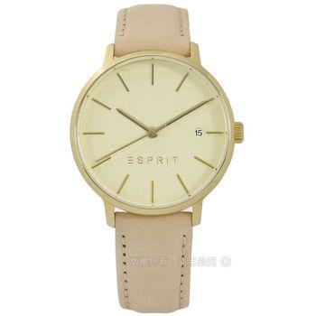 ESPRIT / ES109332002 / 經典光澤迷人風情日期真皮手錶 金x杏 34mm