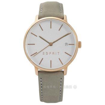 ESPRIT / ES109332003 / 經典光澤迷人風情日期真皮手錶 銀x玫瑰金框x灰綠 34mm