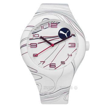 PUMA / PU103001020 / 動感跳躍線條矽膠手錶 白色 43mm