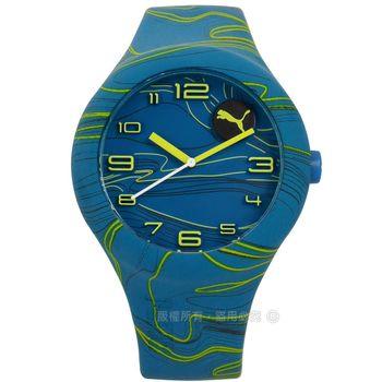 PUMA / PU103211028 / 動感跳躍線條矽膠手錶 藍色 47mm
