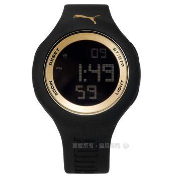 PUMA / PU910801044 / 炫彩雙色運動電子橡膠手錶 金x黑 45mm