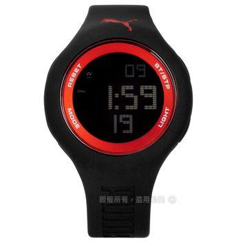 PUMA / PU910801046 / 炫彩雙色運動電子橡膠手錶 紅x黑 45mm