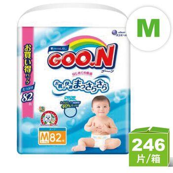 (M共246片)日本大王GOO.N境內版 阿福狗系列 M黏貼型(82片*3)紙尿褲