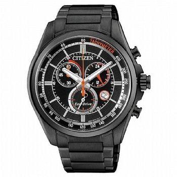 CITIZEN 星辰 GENT S時尚男錶 三眼計時腕錶-黑X紅/43mm (AT2136-87E)