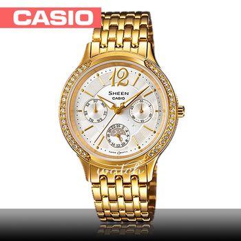 【CASIO 卡西歐 SHEEN 系列】送禮首選_氣質優雅_不鏽鋼錶帶_防水_指針女錶(SHE-3030GD)