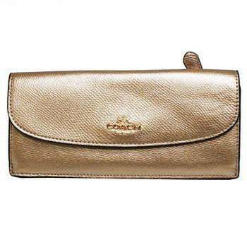 【COACH】經典立體金屬馬車LOGO 全皮革後拉鍊口袋薄型長夾(金)